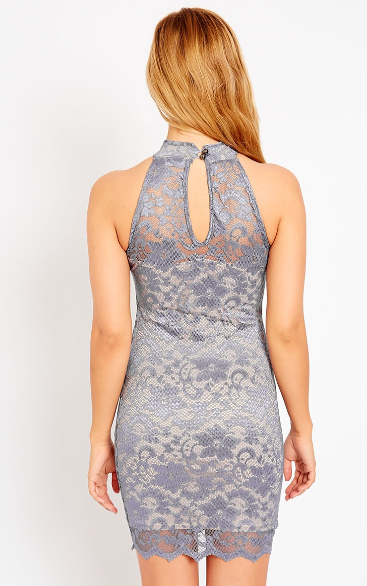 Soffi Grey High Neck Lace Bodycon Dress 2