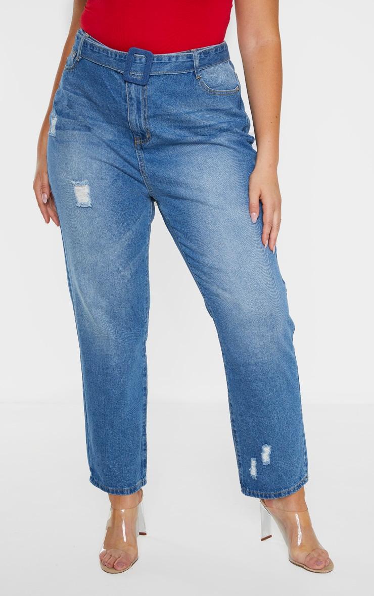 Plus Mid Wash Belt Detail Distressed Straight Leg Jean  2