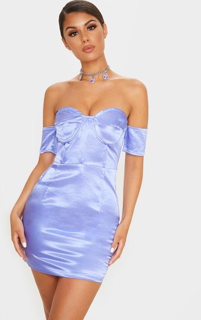 Purple Satin Bardot Panelled Detail Bodycon Dress