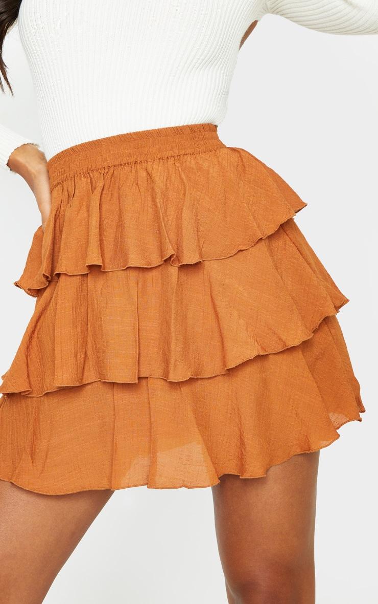 Rust Woven Tiered Ruffle Skirt 5
