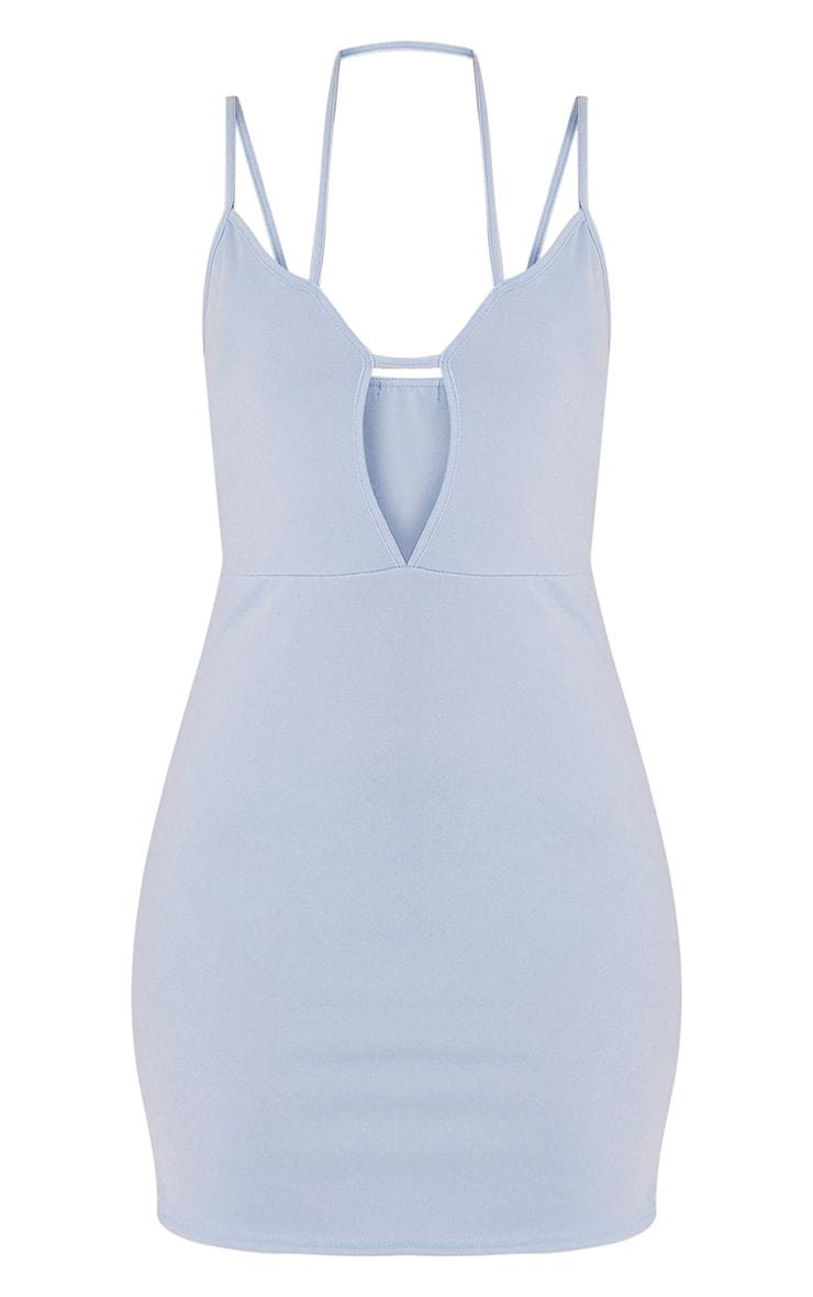 Aimee Dusty Blue Strap Detail Plunge Bodycon Dress 3