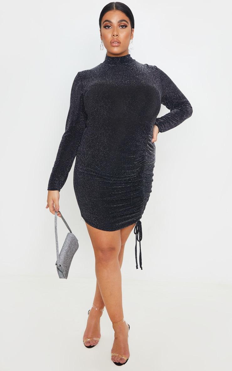 Plus Black Textured Glitter Ruching Detail High Neck Bodycon Dress 1