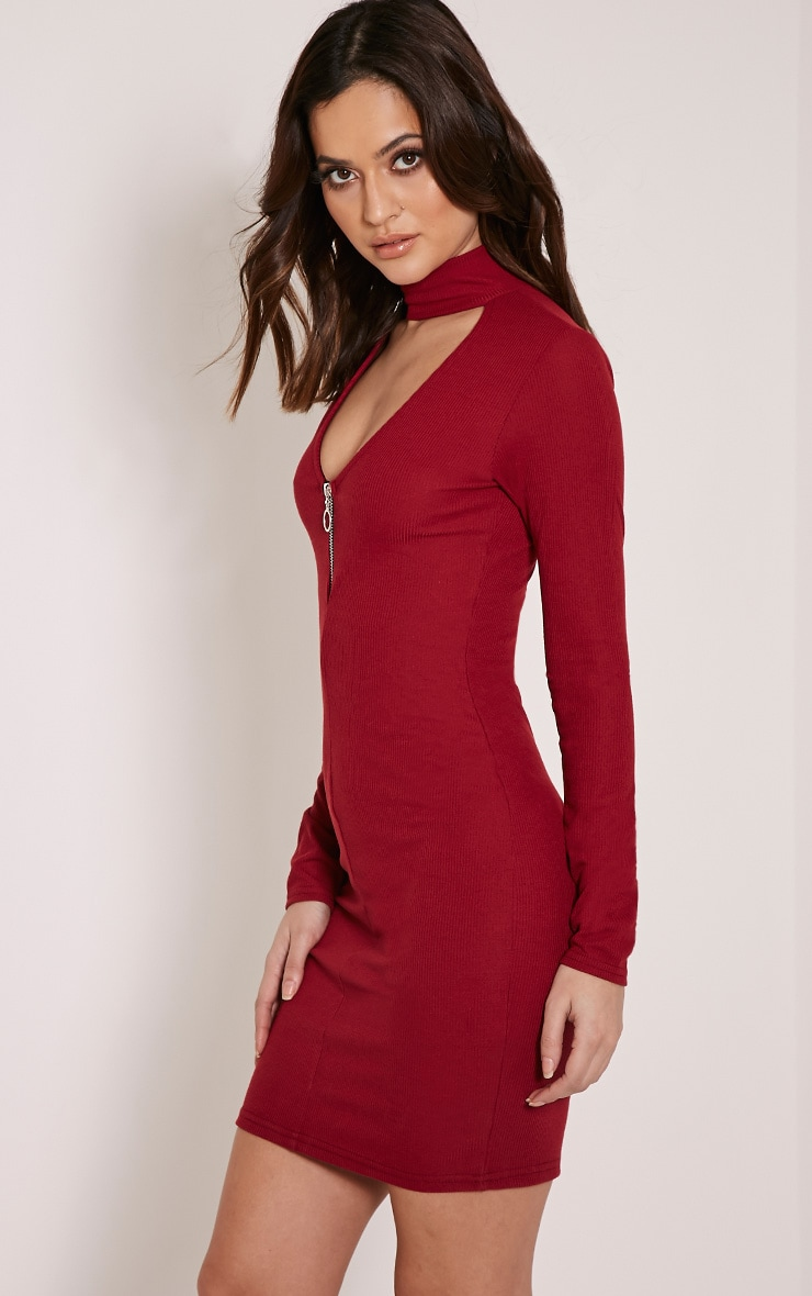 Marlene Burgundy Circle Zip Detail Ribbed Bodycon Dress 4