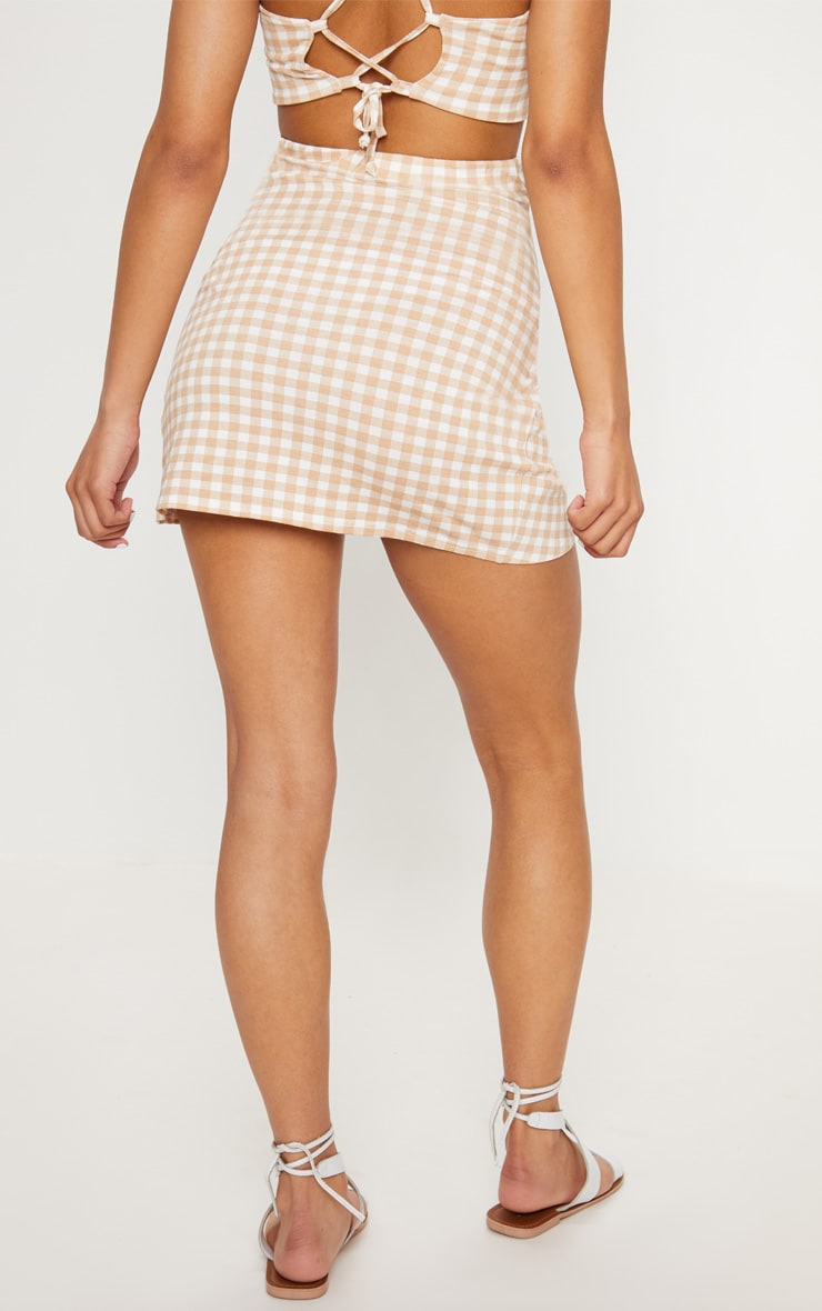 Nude Gingham Tie Front Mini Skirt 4