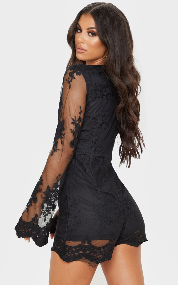 Bella Black Lace Bell Sleeve Playsuit 2