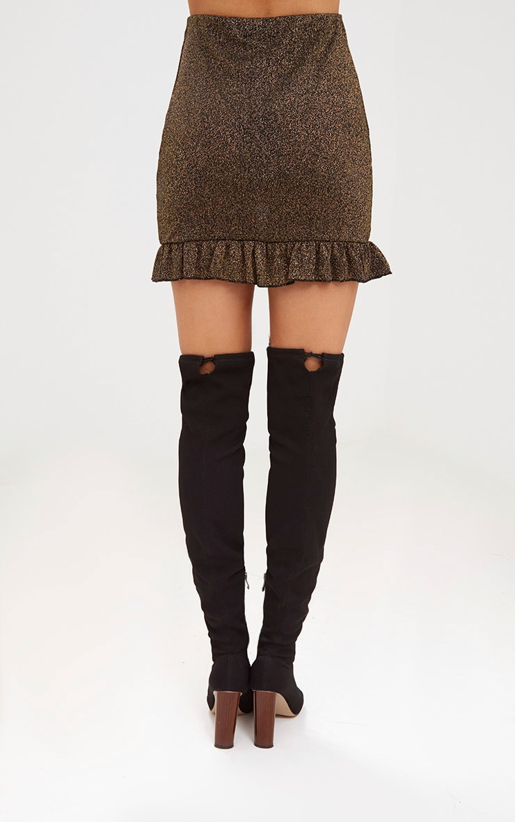Gold Glitter Frill Hem Mini Skirt 4