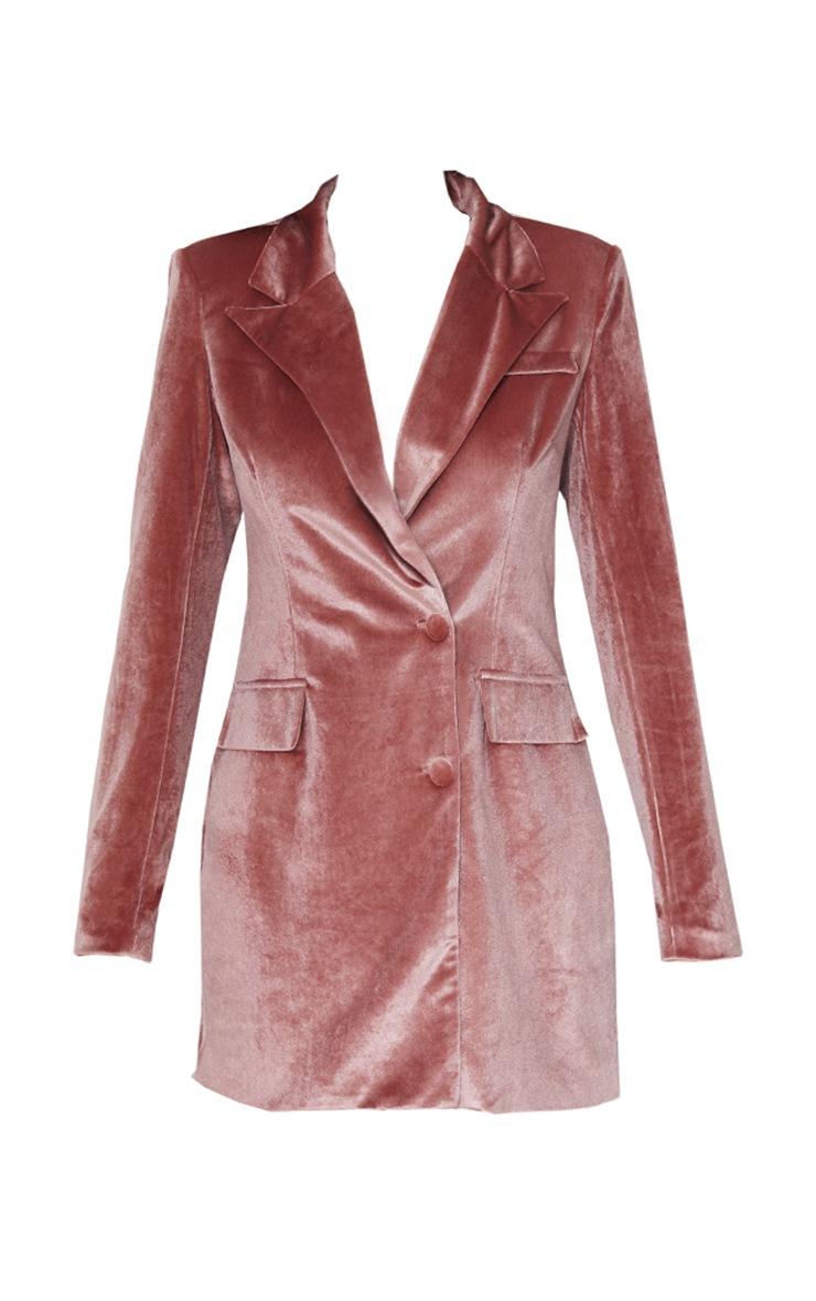 Robe blazer en velours vieux rose à détail poche 5