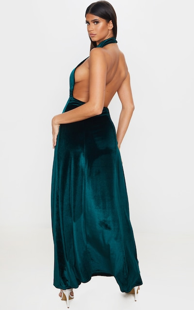 Emerald Green High Neck Halterneck Velvet Maxi Dress