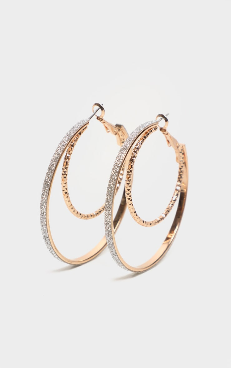 Gold Glitter Textured Hoop With Earrings 4