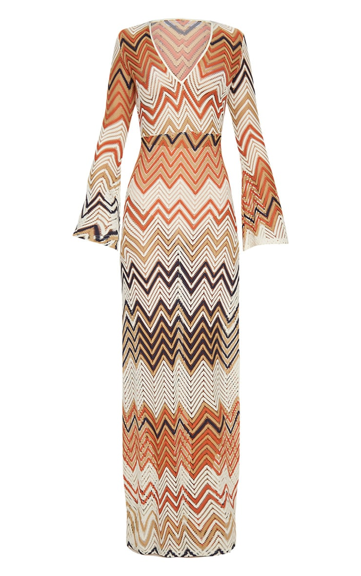 Burnt Orange Chevron Print Lace Maxi Dress 2