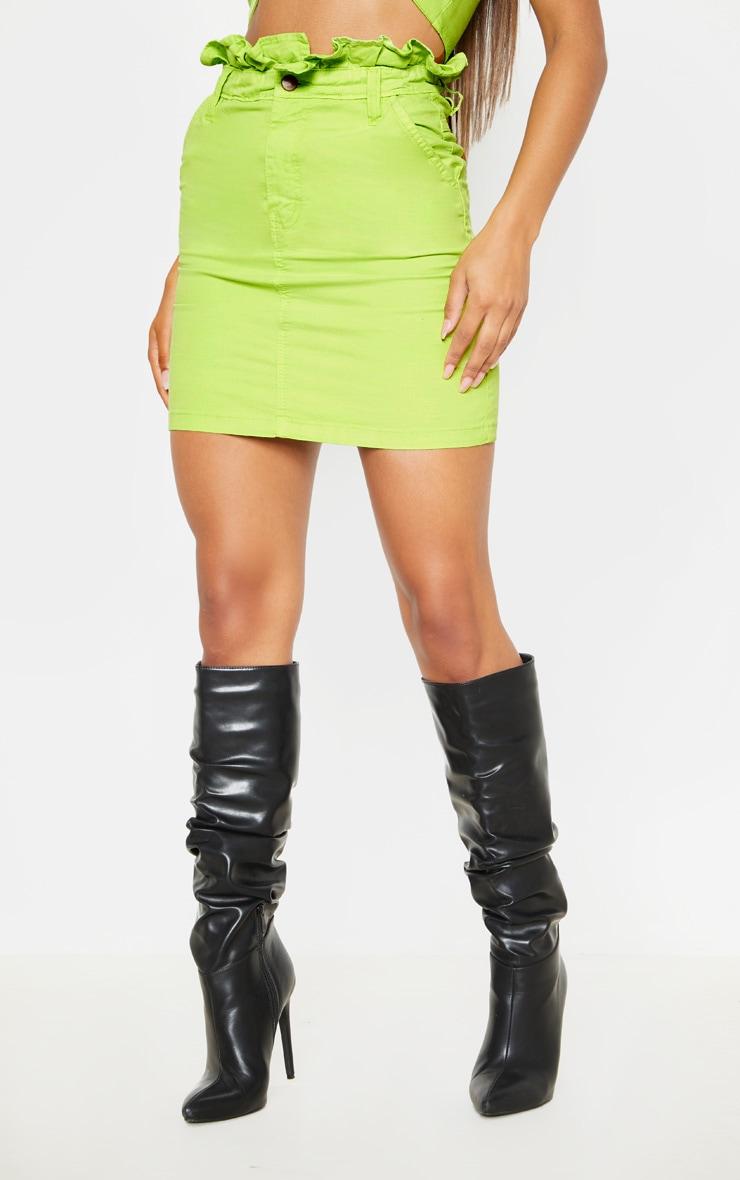 Neon Lime Frill Paperbag Denim Skirt  2