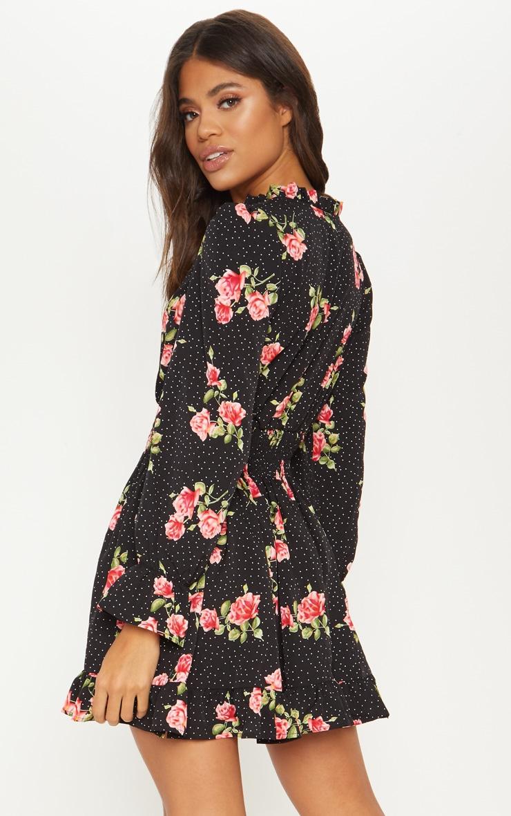 Black Floral Polka Dot Shirred Waist Shirt Dress 2
