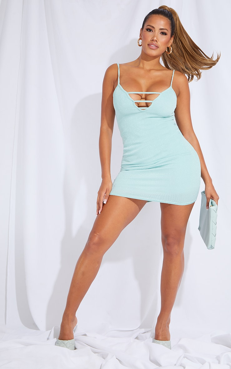 Shape Sage Green Glitter Strap Detail Strappy Bodycon Dress 1
