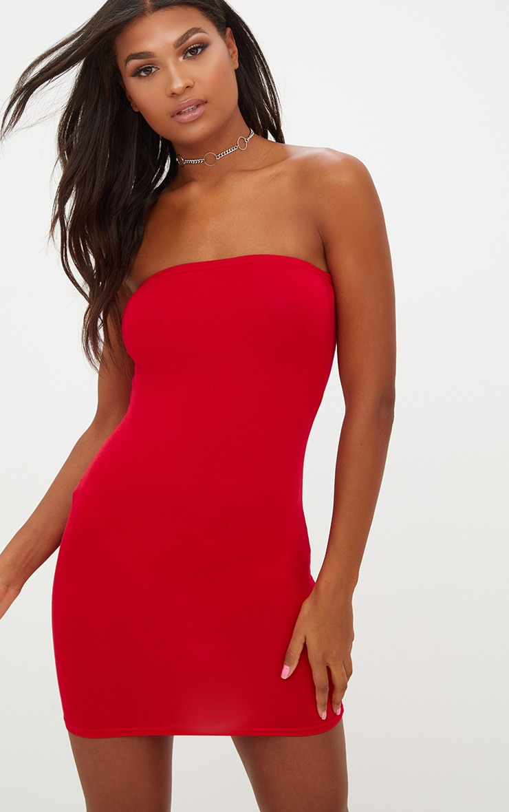 Basic Red Jersey Bandeau Bodycon Dress