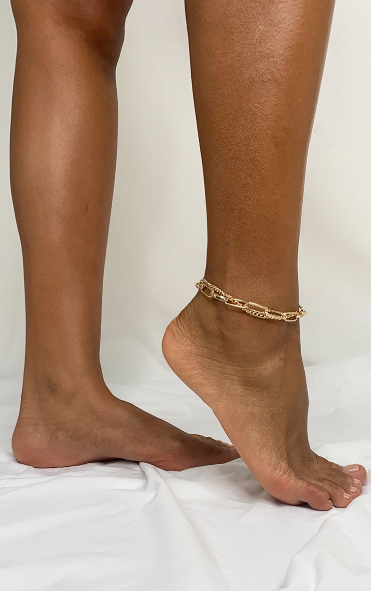 Gold Multi Link Chain Anklet 1