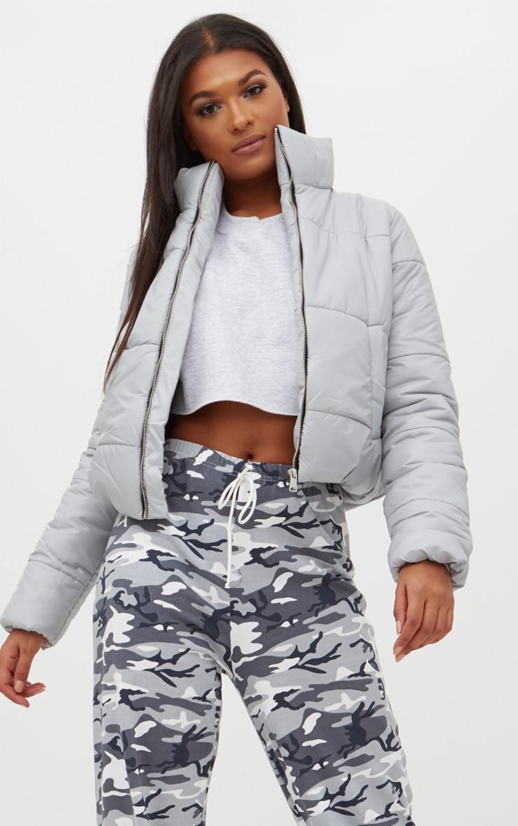 Grey High Shine Cropped Puffer Jacket 4