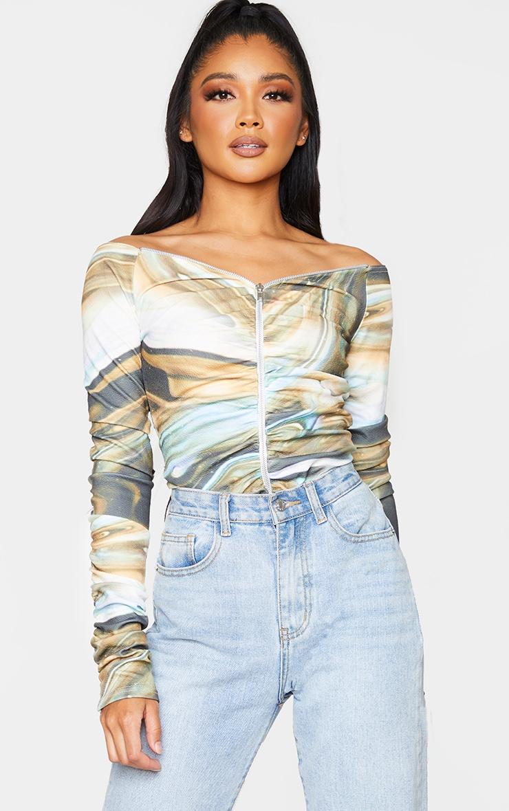 Beige Swirl Print Bardot Zip Ruched Sleeve Bodysuit 1