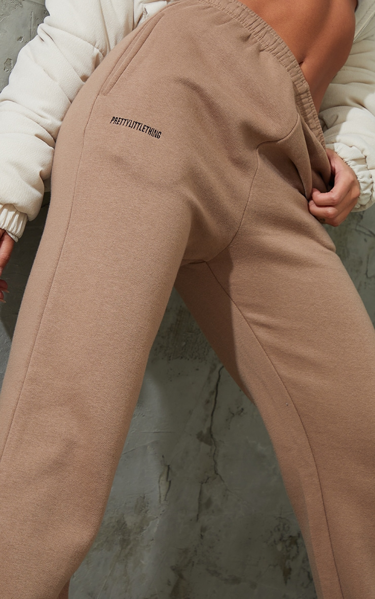 PRETTYLITTLETHING Taupe Block Embroidered Joggers 4