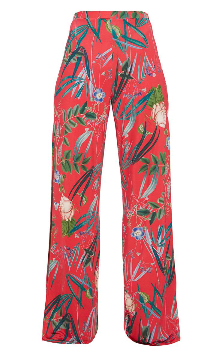 Pantalon ample rouge à imprimé floral fendu sur le côté 3