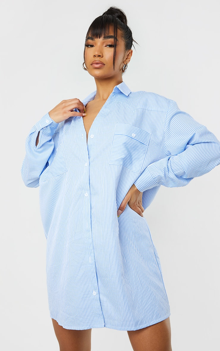 Blue Stripe Yoke Detail Button Up Oversized Shirt Dress 3