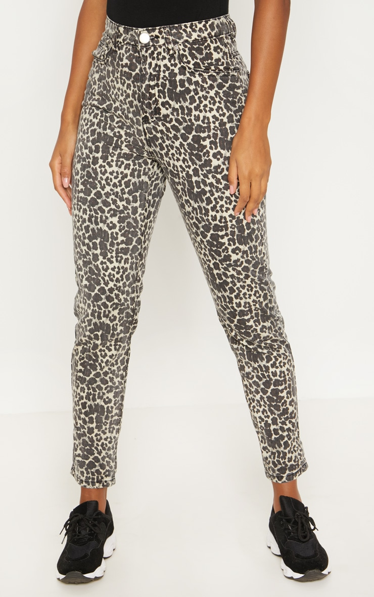 Brown Leopard Print Mom Jeans  5