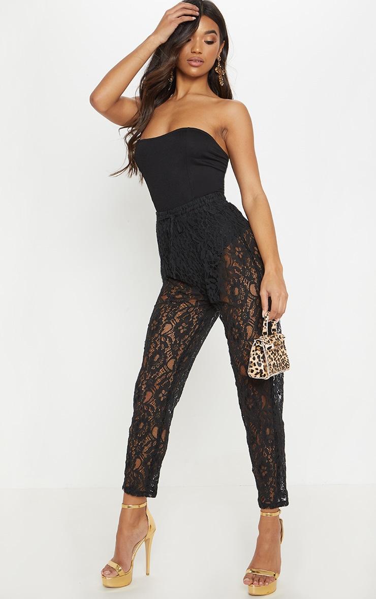 Black Drawstring Waist Lace Jogger 1