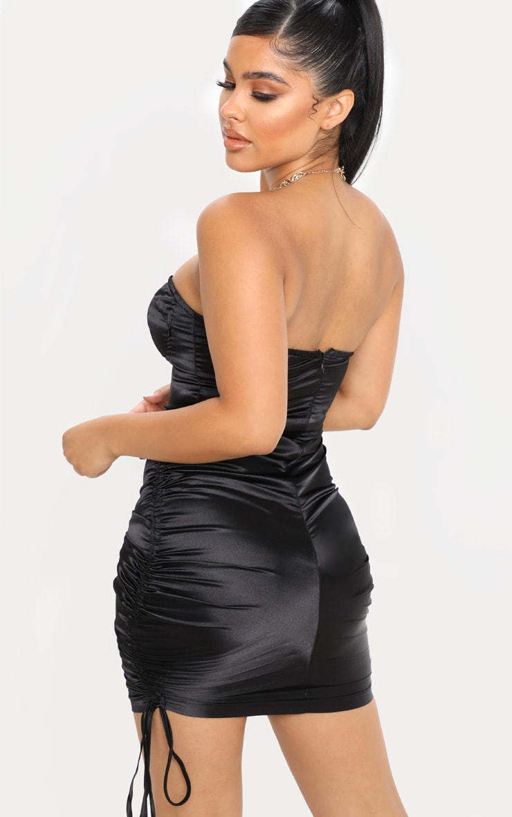Petite Black Corset Detail Ruched Side Satin Mini Dress  2