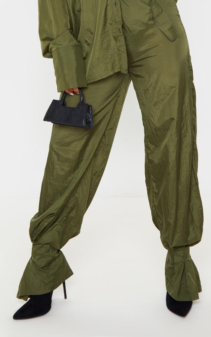 Khaki High Waisted Pocket Cuff Detail Pants 5