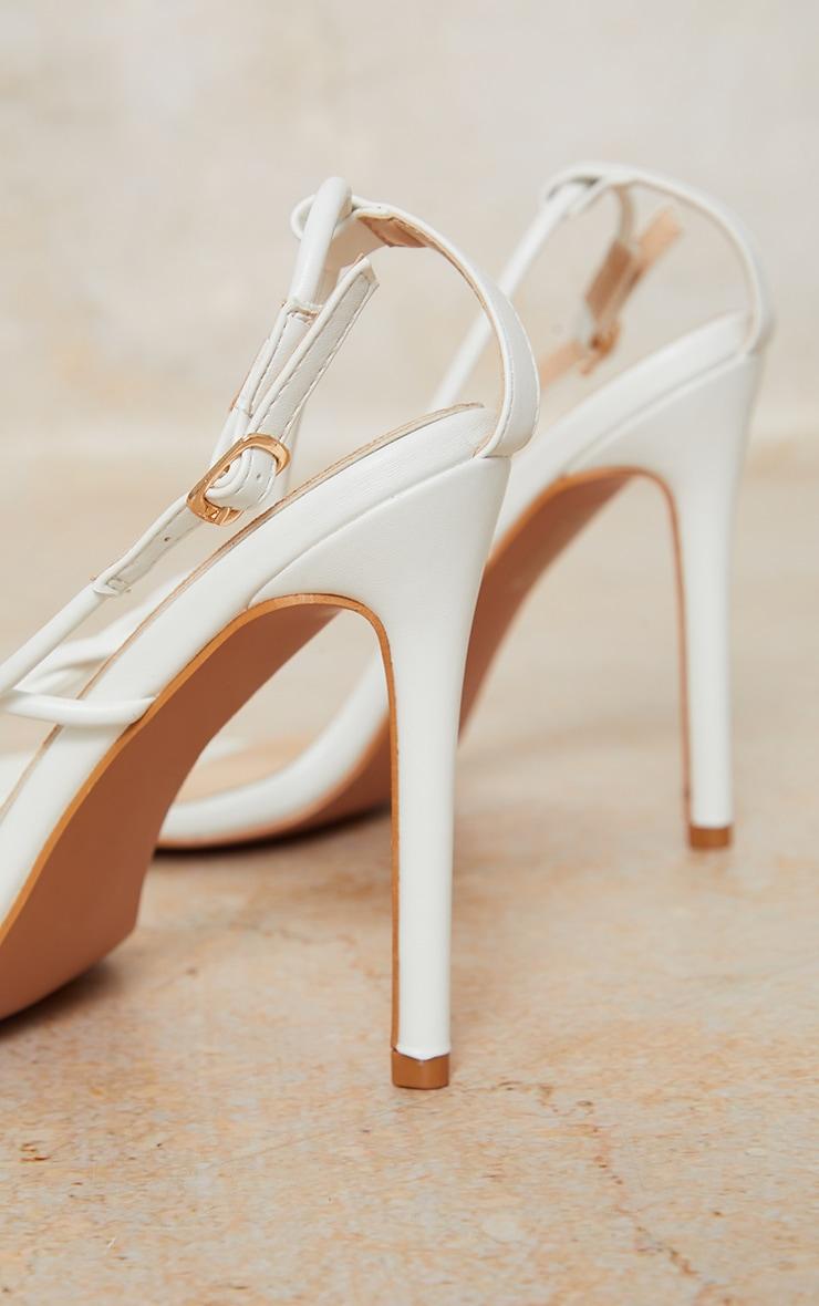 White Toe Thong Twist Strap Heeled Sandals 4