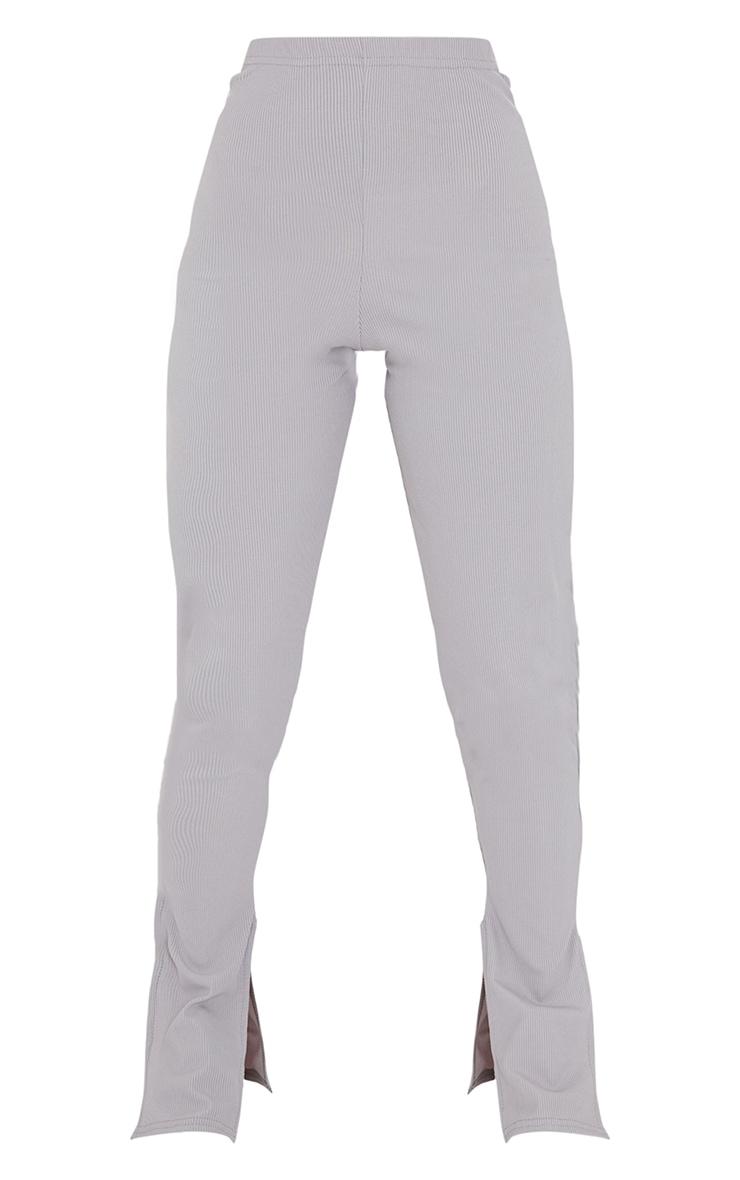 Petite Grey Rib Double Split Hem Leggings 5