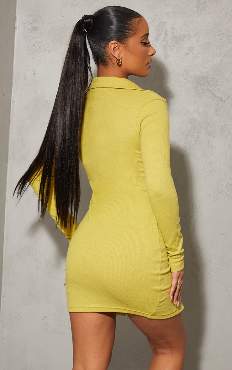 Chartreuse Bralet Overlay Button Down Rib Bodycon Dress 2