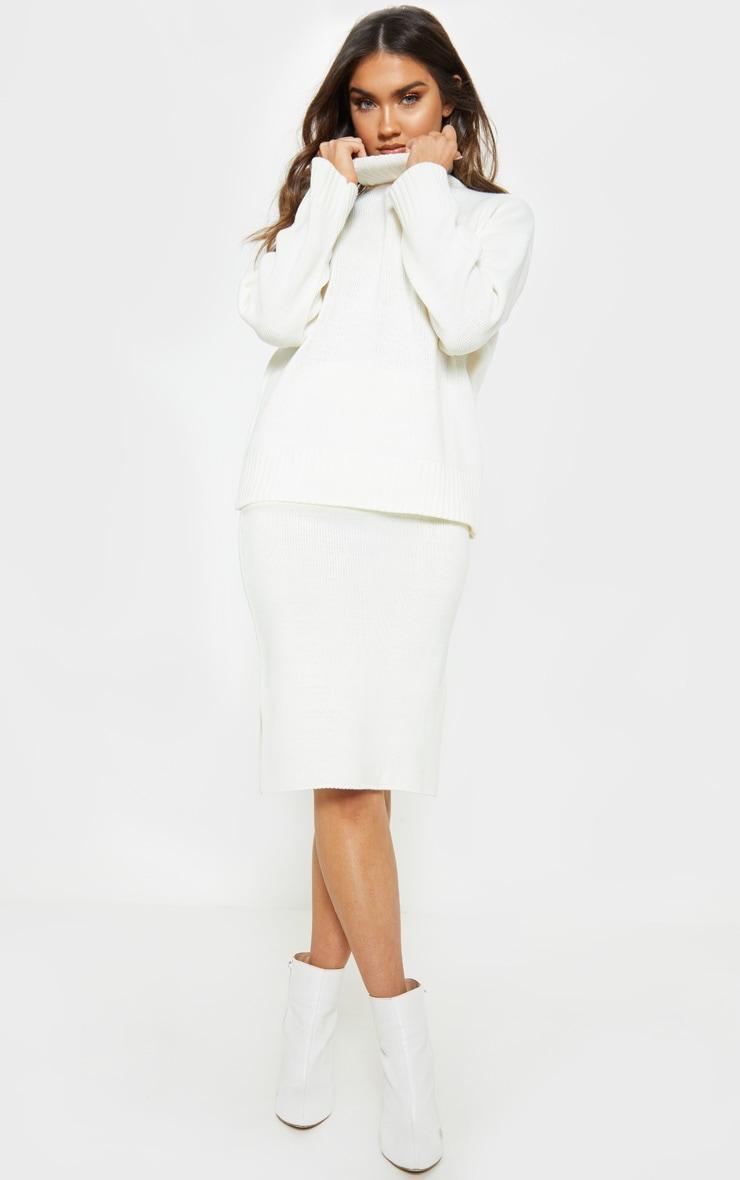Cream Midi Knitted Skirt  1