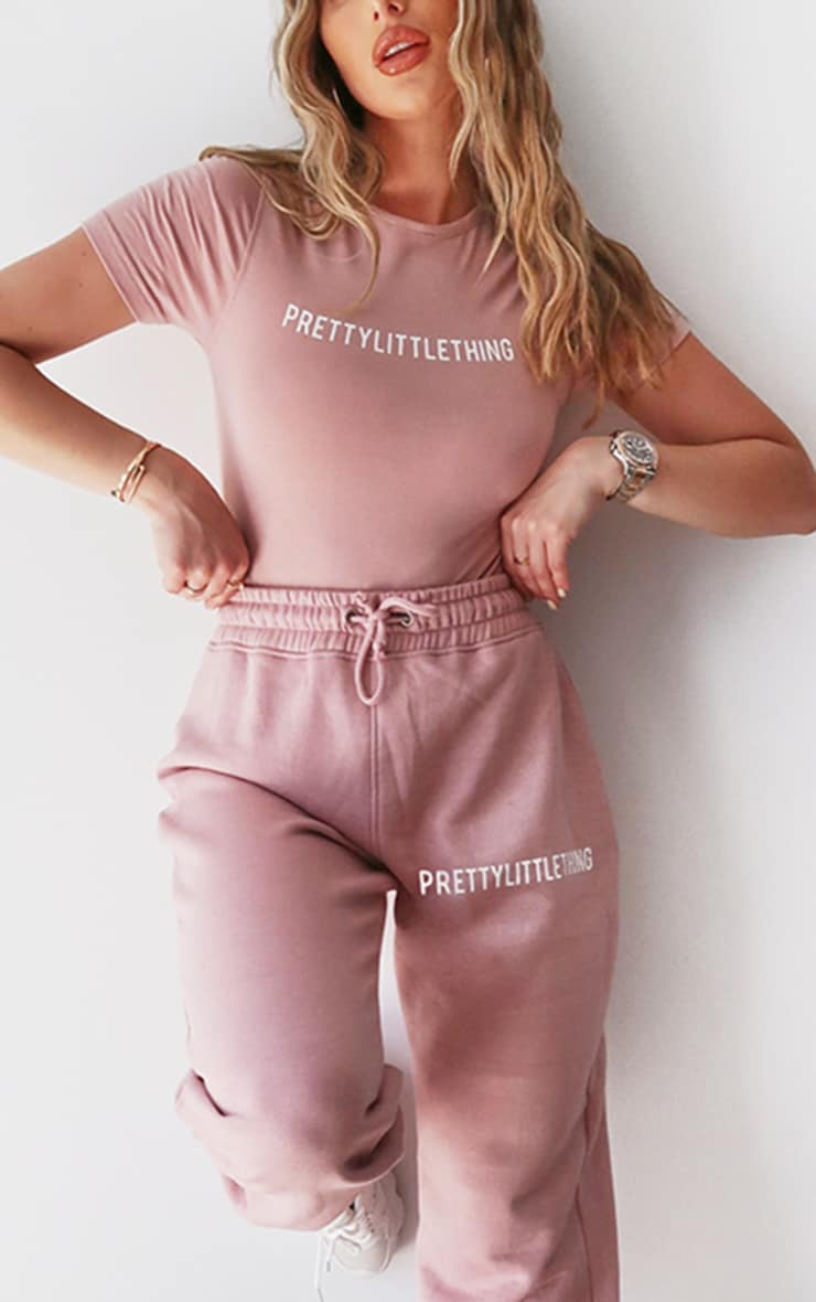 PRETTYLITTLETHING Lilac Embroidered Slogan Joggers 4