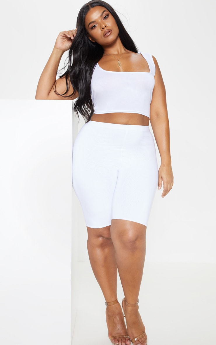 Plus White Basic Jersey Square Neck Crop Vest 4