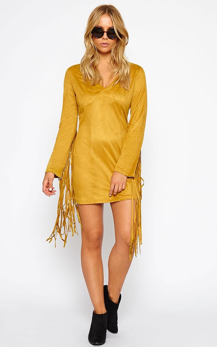 Nexie Mustard Faux  Suede Fringe Mini Dress 3
