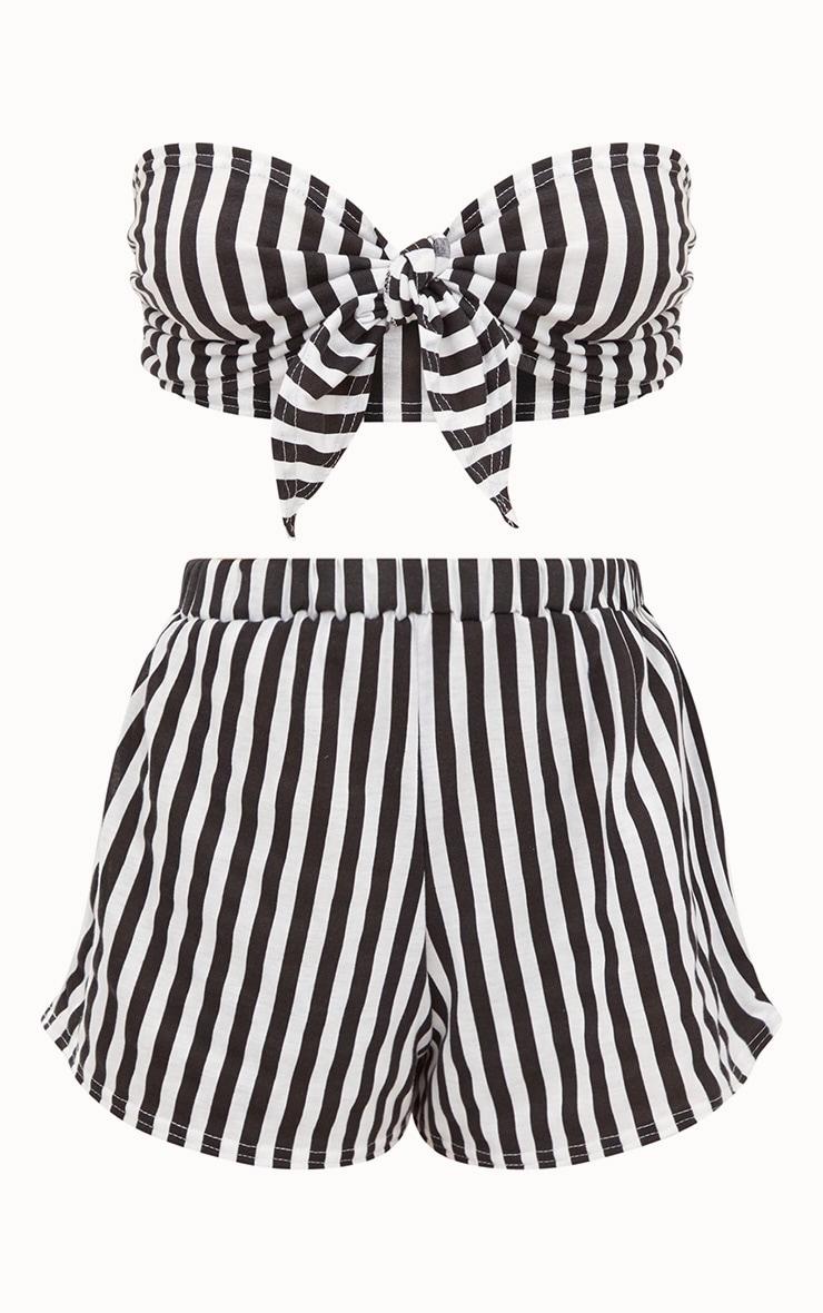 Black Striped Bow Front Short PJ Set 3