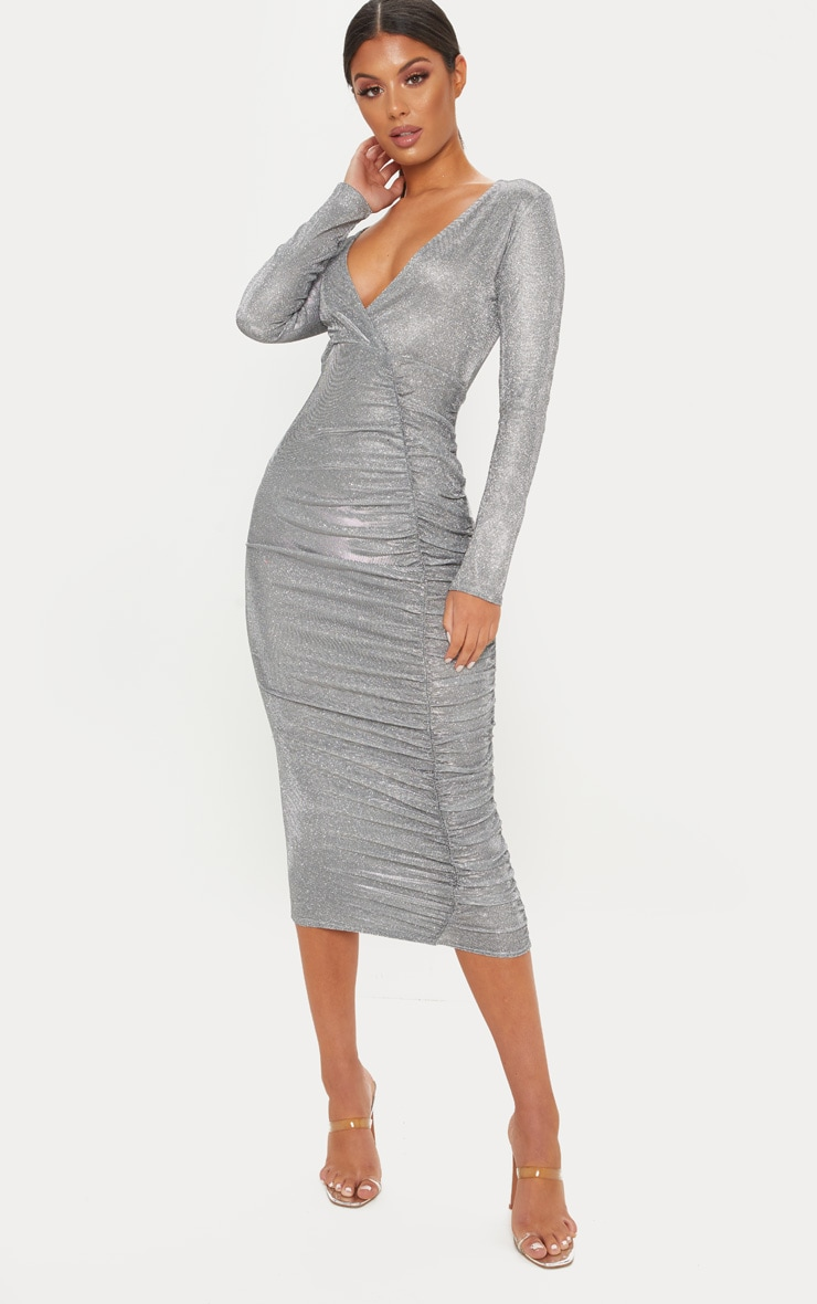 Silver Glitter Plunge Ruched Midi Dress