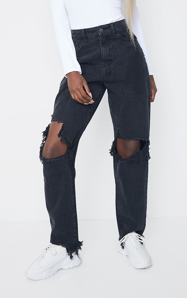 PRETTYLITTLETHING Tall Washed Black Extreme Ripped Hem Boyfriend Jeans 2
