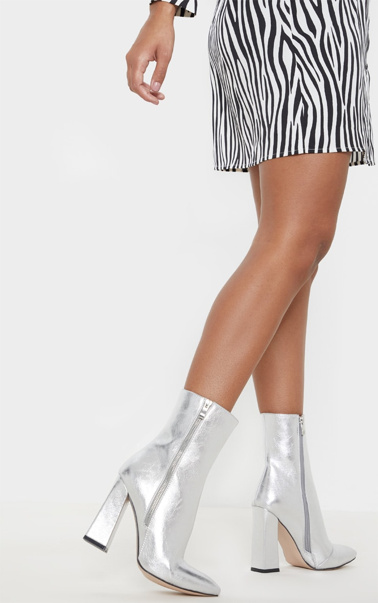 Silver Side Zip High Point Ankle Boot 2