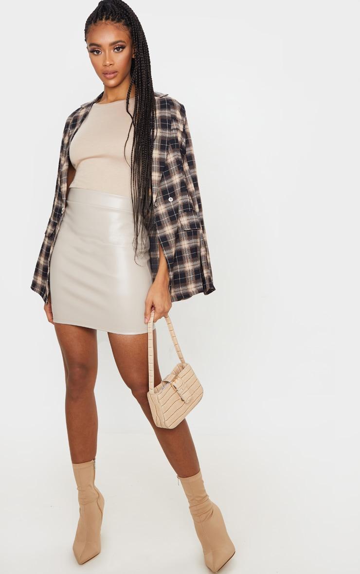 Stone Basic Faux Leather Mini Skirt 5