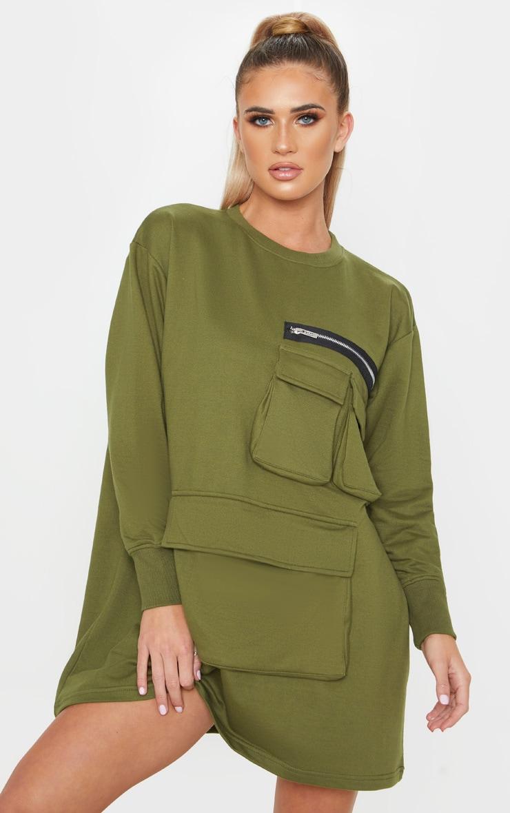 Khaki Oversized Zip Pocket Front Sweater Dress  1