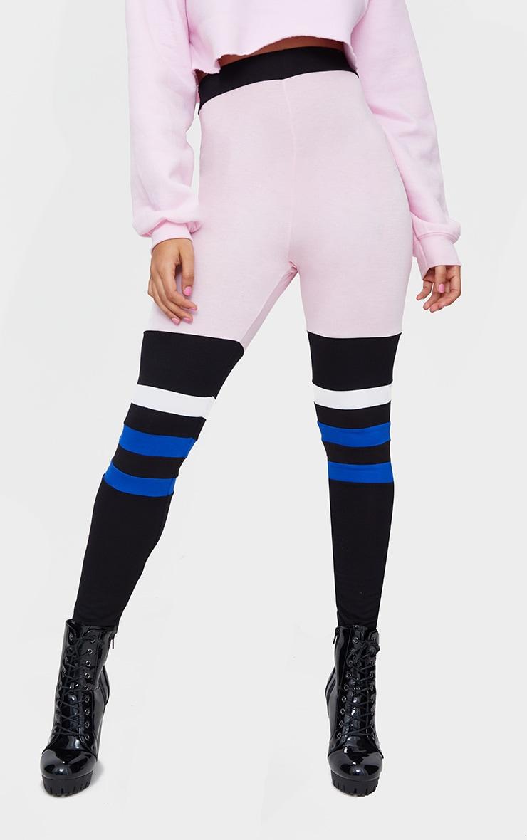 Pink Jersey Colourblock Stripe Leggings 2