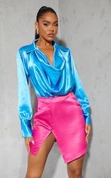 Aqua Blue Satin Cowl Neck Long Sleeve Bodysuit 1
