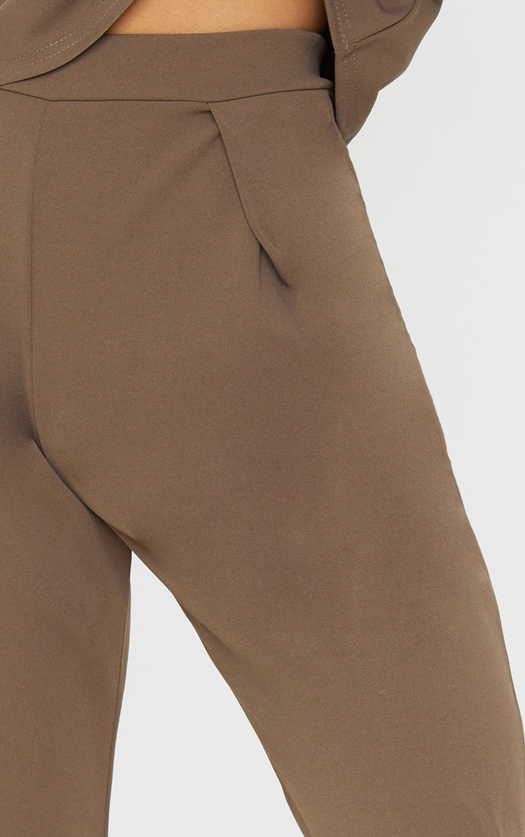 Mocha High Waisted Pleat Detail Tapered Trouser 5