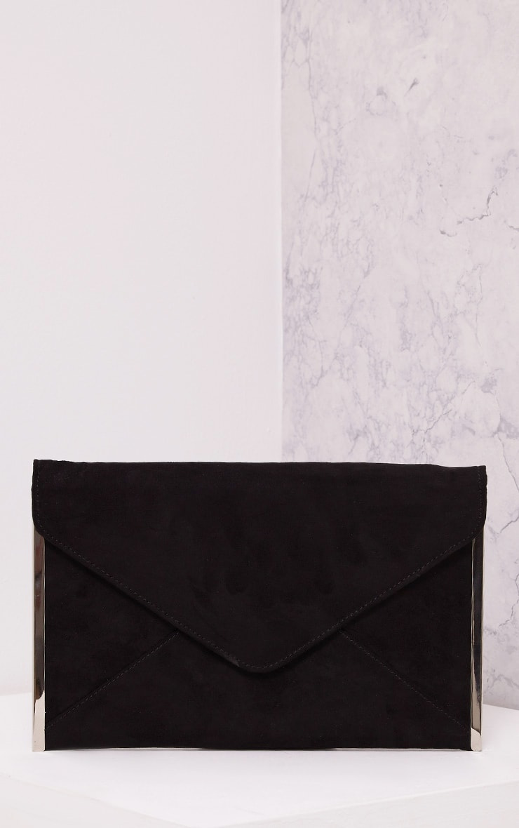 Tassa Black Faux Suede Envelope Clutch Bag 1