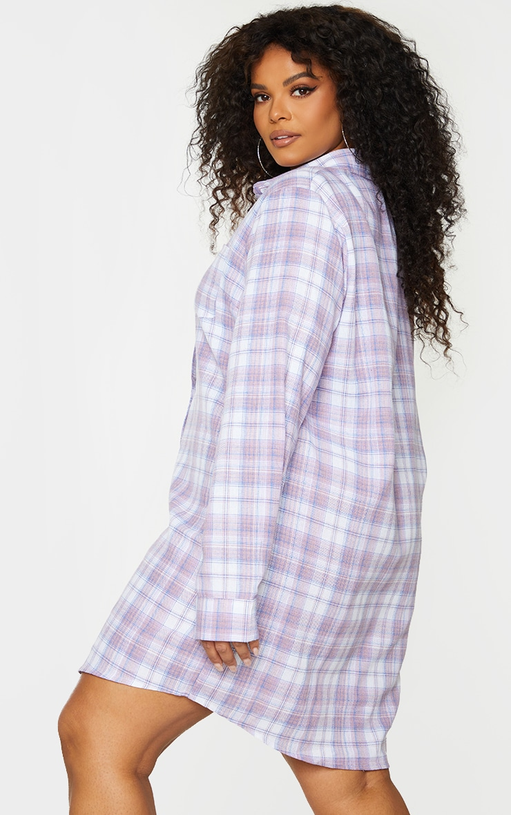 Plus Lilac Checked Oversized Shirt Dress 2
