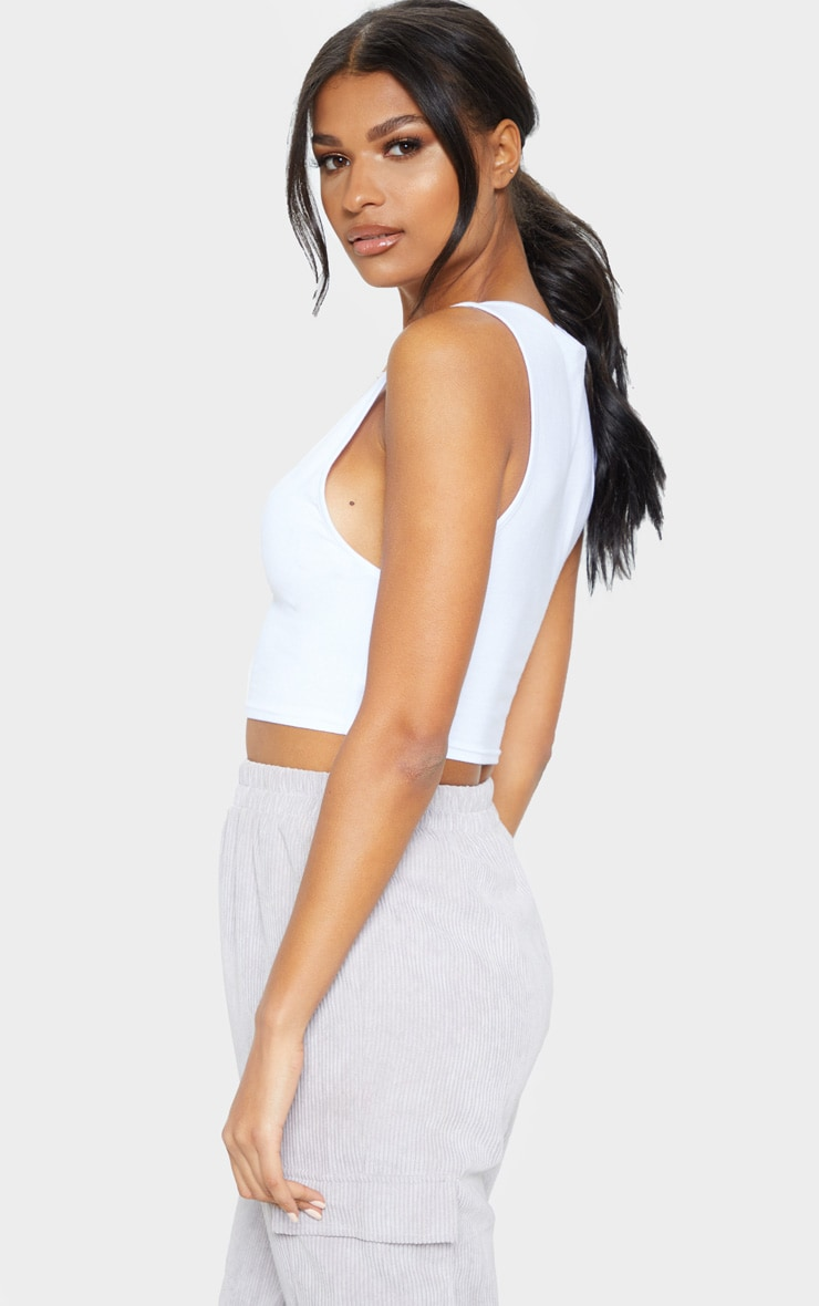 Basic White Scoop Neck Jersey Vest Top 2