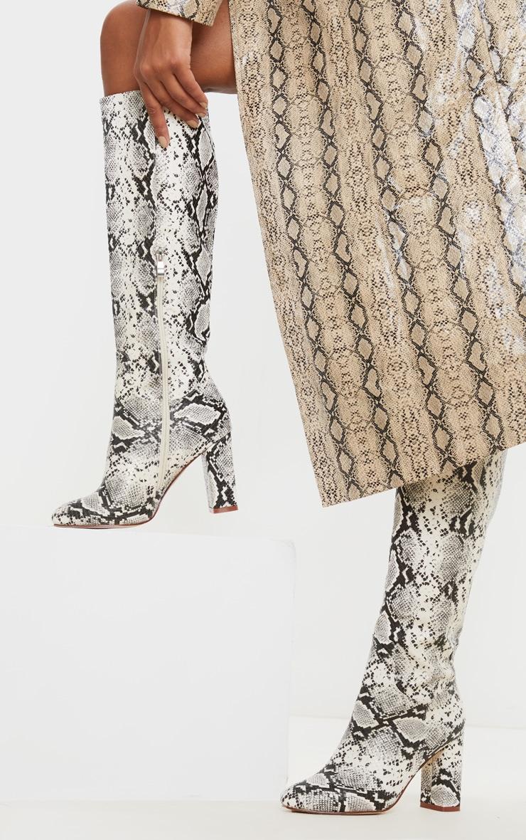 Snake Block Heel Knee Boot 1