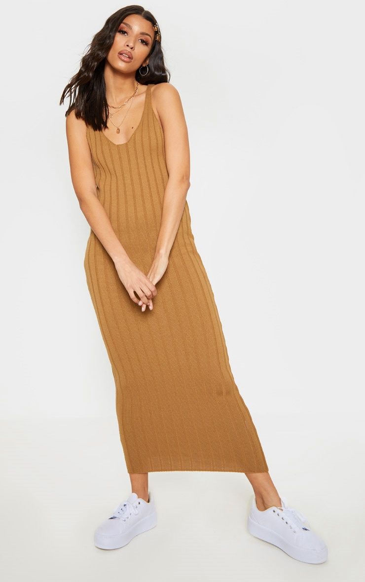 baf4b6fef9a06 Camel Ribbed Knitted Maxi Dress image 1