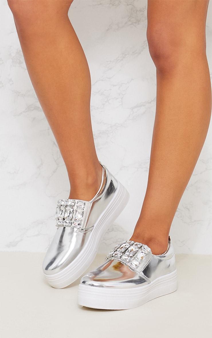 Silver Jewel Embellished Flatform Trainer 2